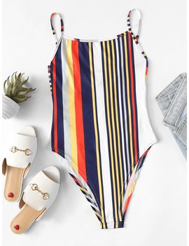 knot-back-striped-bodysuit by romwe