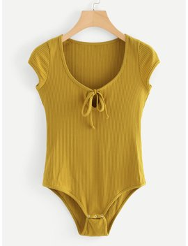 tie-neck-ribbed-bodysuit by romwe