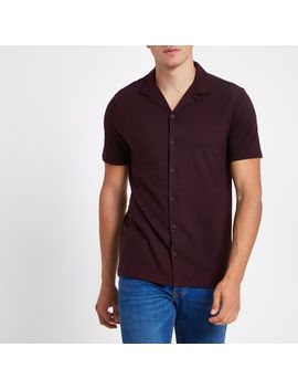 dark-red-slim-fit-revere-shirt by river-island
