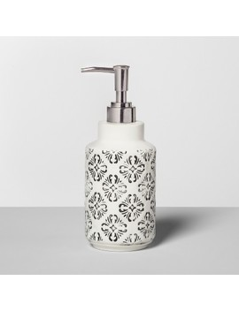 mallorca-mosaic-distressed-debossing-on-ceramic-soap_lotion-dispenser-black---opalhouse by shop-this-collection