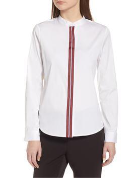 ribbon-placket-cotton-blend-top by halogen®