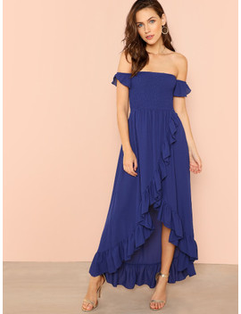 shirred-panel-asymmetrical-ruffle-hem-wrap-bardot-dress by shein