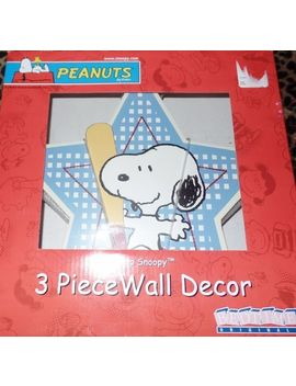 3-piece-nursery-wall-decor-peanuts-champ-snoopy-baseball-football-soccer-new by lambs-&-ivy