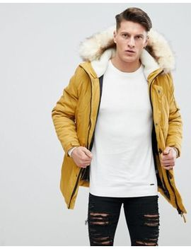 river-island-parka-jacket-with-faux-fur-and-fleece-hood-in-mustard by river-island