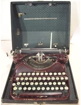 1927~L.C. Smith &Amp; Corona~Rare Antique Maroon Portable Typewriter W/Original Case by L.C. Smith &Amp; Corona