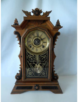 Antique Ingraham Clock, Bristol Conn., C. 1910, Mantel/Shelf Clock, With Key by Ingraham