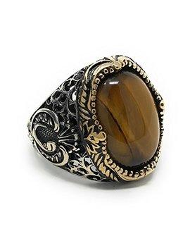 kar-925k-stamped-sterling-silver-tiger-eye-mens-ring-i1b by kar
