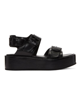 black-leather-platform-sandals by ann-demeulemeester