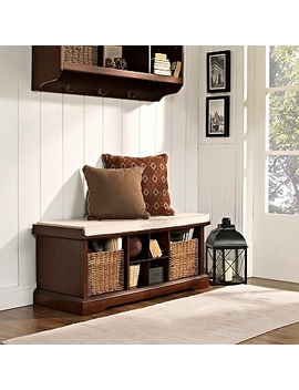 wicker-baskets-mahogany-storage-bench-with-cushion by kirklands
