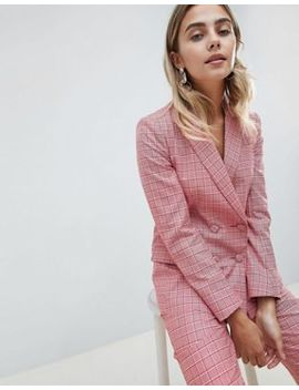 asos-design-tailored-double-breasted-blazer-in-red-check by asos-design