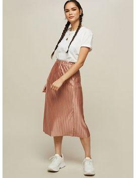 Miss Selfridge   Pink Pleated Midi Skirt by Miss Selfridge
