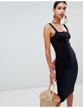 asos-design-cami-rib-bodycon-midi-dress-with-horn-buttons by asos-design