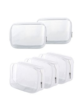 5-pack-clear-pvc-zippered-toiletry-carry-pouch-portable-cosmetic-makeup-bag-for-vacation,-bathroom-and-organizing-(small,-white) by homtable