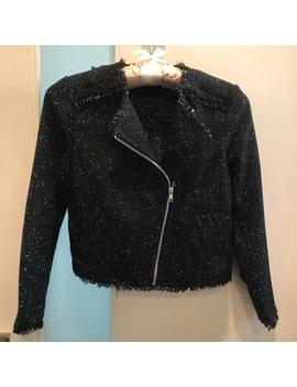 h&m-black-white-tweed-motorcycle-cropped-jacket by h&m
