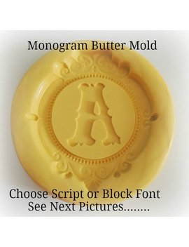 monogram-butter-molds-silicone-butter-mold-script-letter-monogrammed-mint-cheese-fondant-baking-mold by etsy