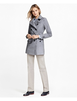 Plaid Stretch Cotton Trench Jacket by Brooks Brothers
