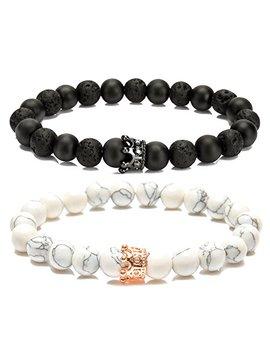 lylymimi-couples-bracelet-for-men-women-bead-bracelet-with-crown-charms-matte-lava-rock-stone by lylymimi