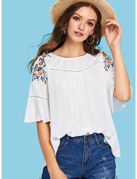 flounce-sleeve-embroidered-blouse by shein