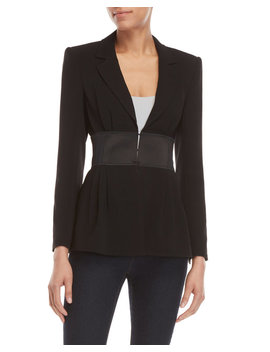 black-lane-satin-belted-jacket by cinq-a-sept