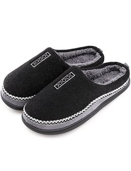 mens-cozy-fuzzy-wool-fleece-memory-foam-slippers-slip-on-clog-house-shoes-indoor_outdoor by hometop