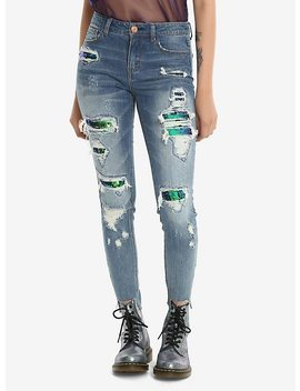 sequin-destroyed-skinny-jeans by hot-topic