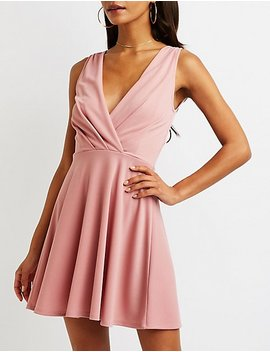 Wrap Skater Dress by Charlotte Russe