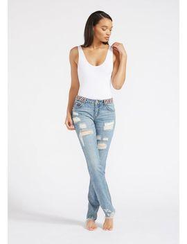 Tall Addison Beaded Waist Gf Jeans by Alloy