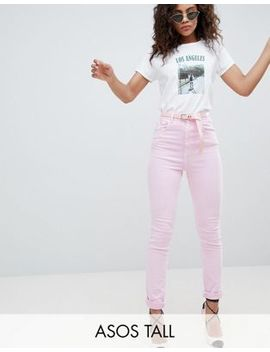 asos-design-tall-farleigh-high-waist-mom-jeans-in-washed-pink-with-belt by asos-design