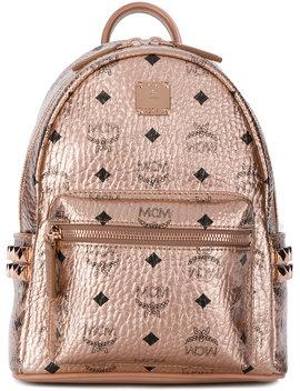 logo-print-metallic-backpack by mcm