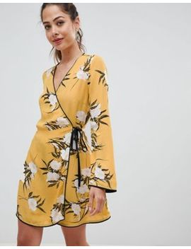 miss-selfridge-wrap-tea-dress-with-floral-print-in-yellow by miss-selfridge