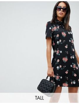 fashion-union-tall-high-neck-short-sleeve-dress-in-vintage-floral by fashion-union