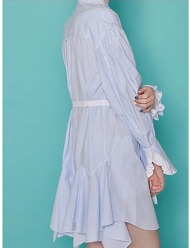 romantic-frill-shirt-dress---sky-stripe by bubulee