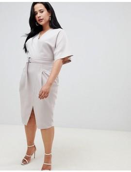 asos-design-curve-wrap-skirt-midi-dresss-with-d-ring-belt by asos-design