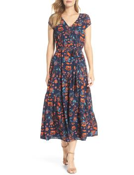 smock-shoulder-floral-crepe-midi-dress by maggy-london