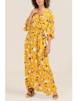 Marianne Kimono Floral Maxi Dress by Francesca's