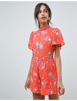 oasis-playsuit-with-ruffle-sleeves-in-orange-floral-print by oasis