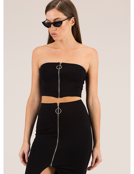 a-familiar-ring-zip-front-tube-top by gojane