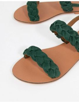 asos-design-frenchie-leather-plaited-flat-sandals by asos-design