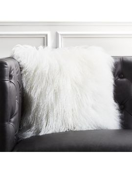 "16"" Mongolian Sheepskin White Fur Pillow by Crate&Barrel"