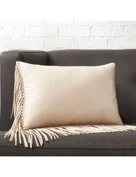 "18""X12"" Leather Fringe Ivory Pillow by Crate&Barrel"
