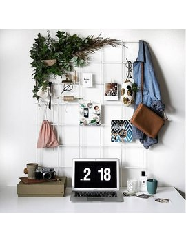 large-white-wire-wall-grid-+-shelf,-free-clips,-mesh-memo-board,-notice-metal-grid,-noticeboard,-kitchen-memoboard,-moodboard,-clip by etsy