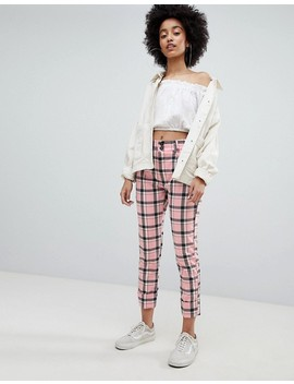 bershka-checked-pants-in-pink-check by bershka