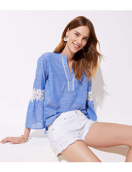 Petite Crochet Chambray Bell Sleeve Top by Loft