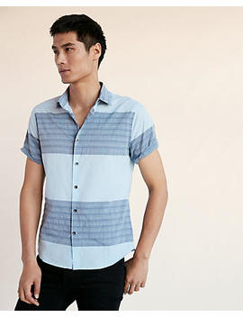 slim-block-stripe-short-sleeve-cotton-shirt by express