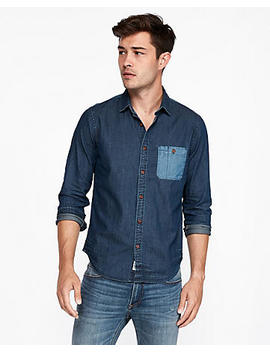 Slim Color Block Denim Shirt by Express