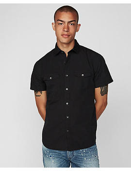 Slim Garment Dyed Short Sleeve Shirt by Express