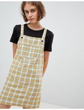 monki-check-mini-dungarees-dress-in-yellow by monki