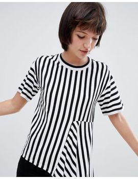 monki-asymmetric-stripe-tee-in-black-and-white by monki