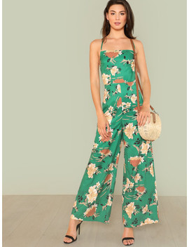 flower-print-wide-leg-cami-jumpsuit by shein