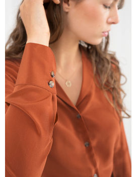 v-cut-silk-button-down-blouse by &-other-stories